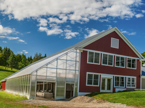 """Jaspar Hill Farm calls their composting energy effort the """"Green Machine."""" Shown here is the greenhouse heated by their compost."""