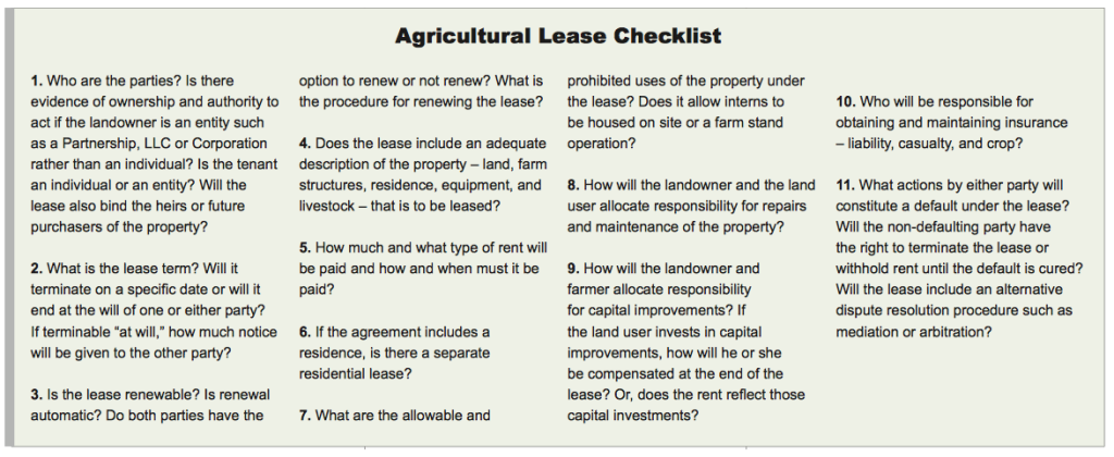 From the Farmland and Tenure Leasing chapter by Annette Higby. Click to see full size